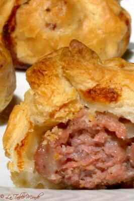 Bouchées feuillettées au porc et à la courgette