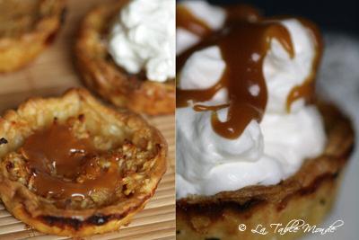 Tartelettes aux pommes nappées de caramel et de chantilly